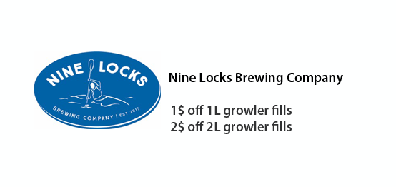 Nine Locks Brewing Company - 1$ off one liter growler fills, 2$ off two liter growler fills